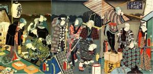 『冬の宿 嘉例のすゝはき』三代歌川豊国 画